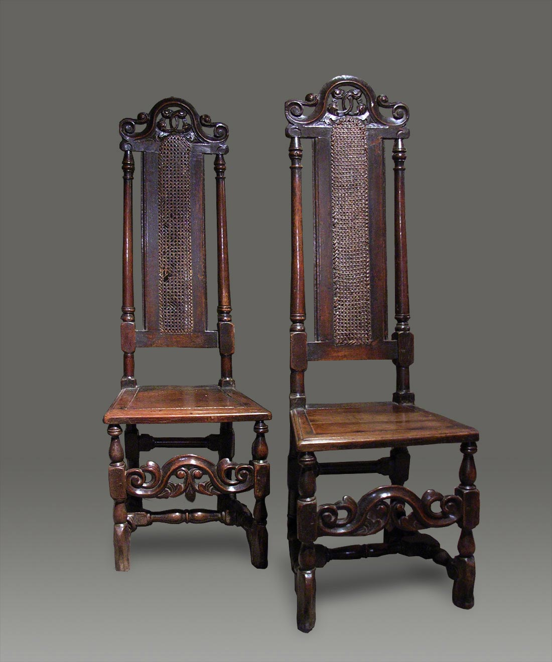 Antique Cane Chairs High Back Carved Crests .