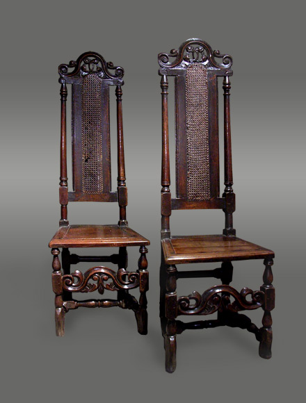 Antique Cane Chairs High Back Carved Crests