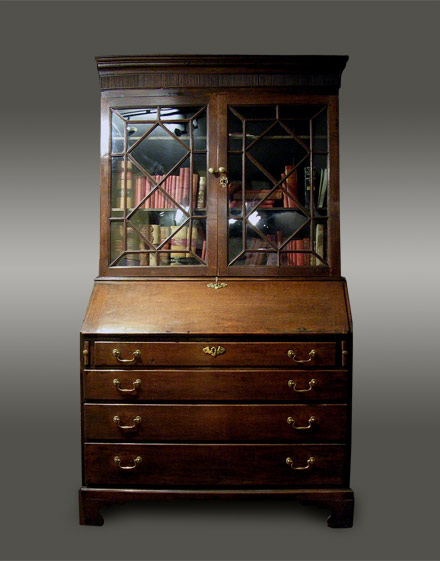 Antique Welsh oak bureau bookcase