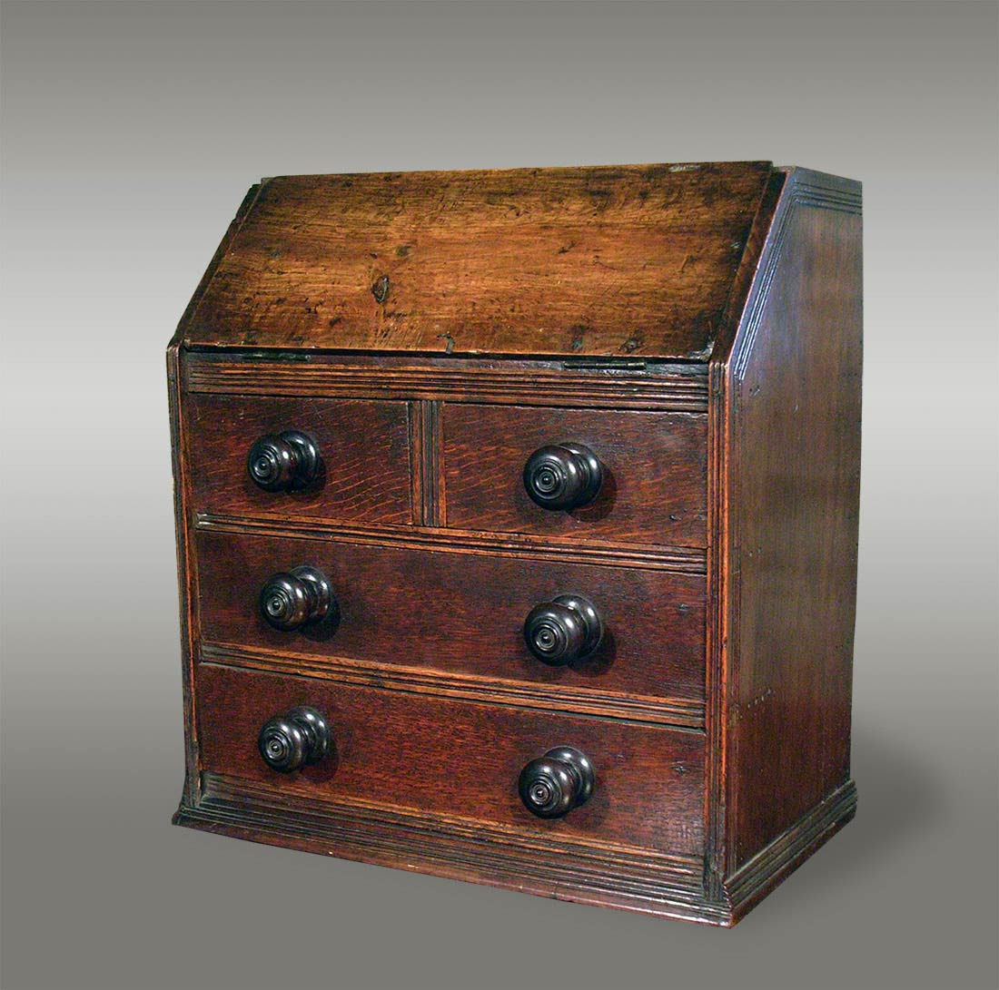 Antique miniature welsh oak bureau made to sit upon a for Antique bureau knobs