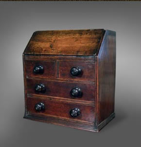 Welsh miniature oak bureau, made to sit upon a table, circa 1780