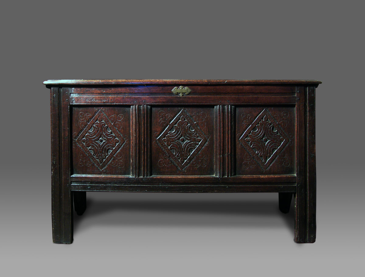 Antique Oak Coffer With Boarded Sides