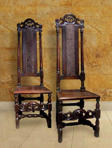 ANTIQUE WELSH OAK PAIR OF RARE CANED SIDE CHAIRS Circa 1690 - ANTIQUE CANE CHAIRS HIGH BACK Carved Crests Cane Backed Side Chairs