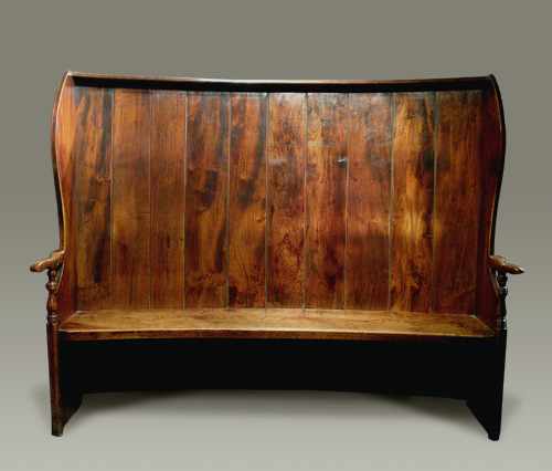 Antique elm curved settle