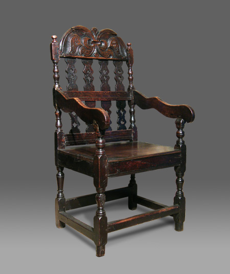 Antique Oak Armchair Of Unusual Design The Back With