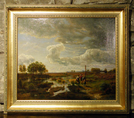 antique 19th century oil painting on canvas featuring a scenic view of the low countries with. Black Bedroom Furniture Sets. Home Design Ideas