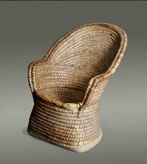 Welsh lipwork chair (made from rolls of wheat straw bound by peeled bramble)