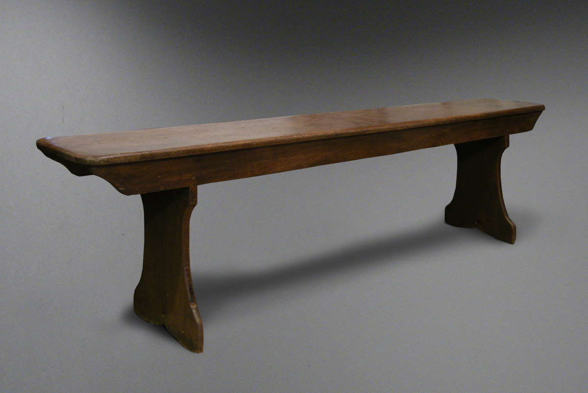 Antique Welsh Beech Farmhouse Bench With Trestle Legs Antique Welsh Bench From Carmarthenshire