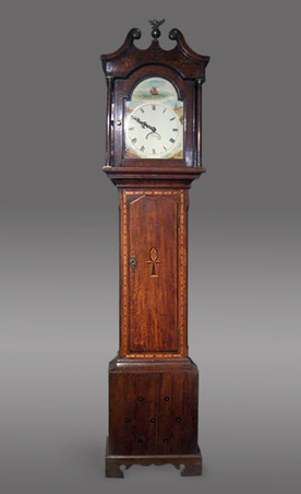 30-hour longcase clock with painted arch dial featuring a sailing ship and coastal scenes, lacking a maker's signature, but probably from Carmarthenshire, circa 1840