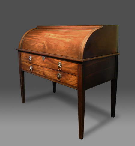 Superieur Antique Mahogany Pedestal Roll Top Desk