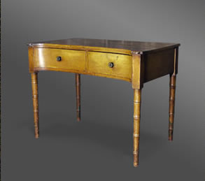Welsh pine side or dressing table with original cream paint finish, with a concave top