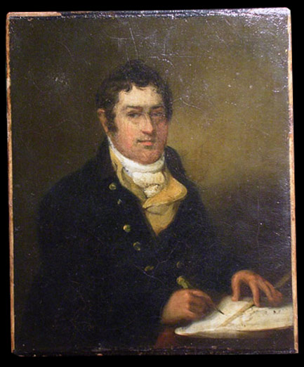 Antique portrait of a gentleman, with a chart, oil on canvas, inscribed on reverse: John Mc Mullen, born February 1st 1770 died November 15th 1813 drowned in the Bay of Bengal