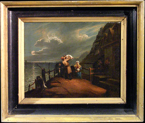 Antique Early 19th century, unsigned oil on canvas,  The Sailor's Farewell