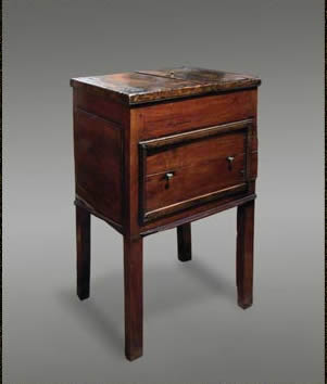 yew wood washstand with birch top.