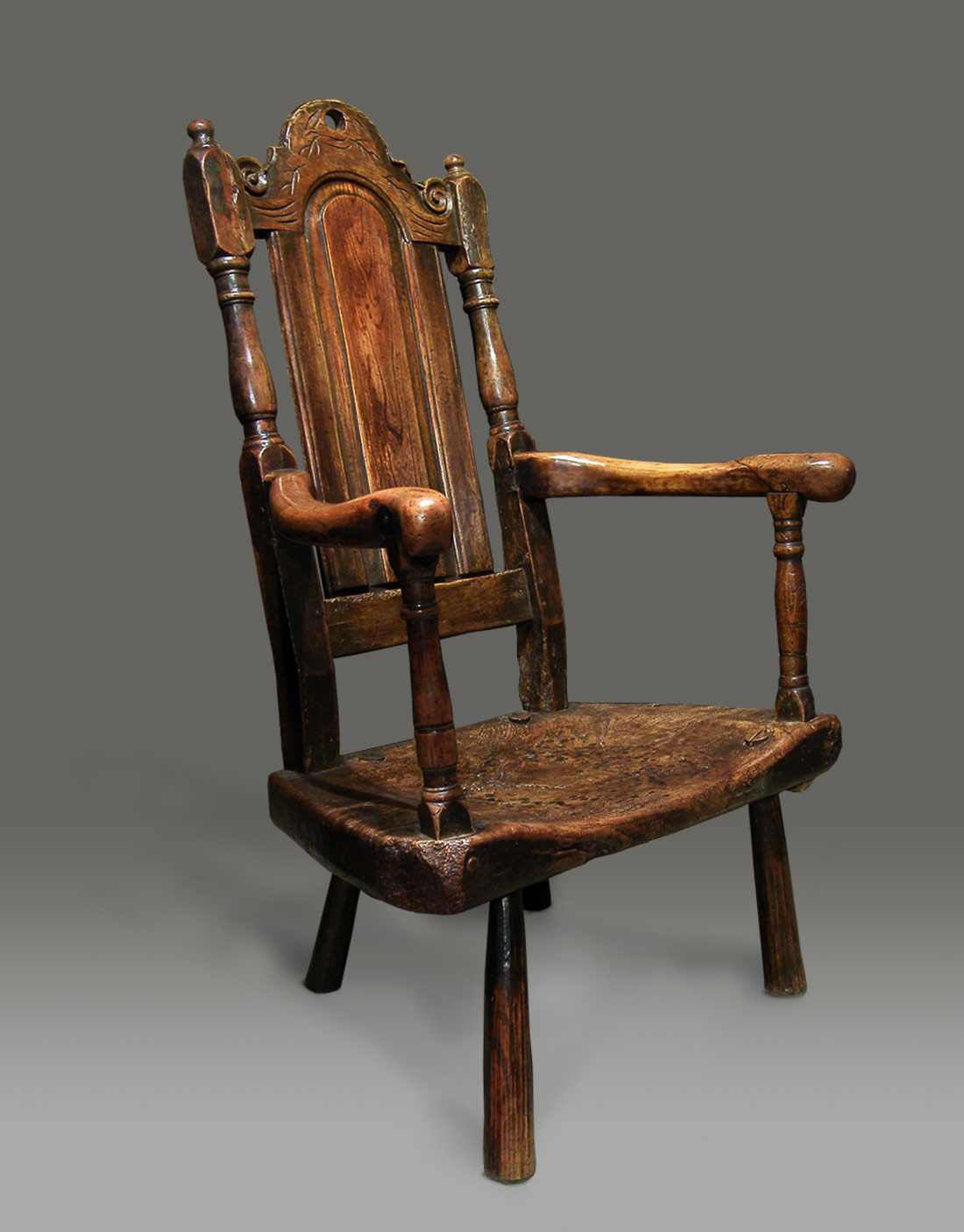 Extraordinarily powerful Welsh stick chair. The panelled back is actually  carved out of the solid, and is flanked by boldly turned supports and  surrounded ... - ANTIQUE STICK CHAIR The Panelled Back Is Actually Carved Out Of The