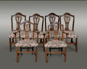 Welsh oak chairs, comprising two armchairs and four singles