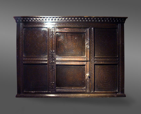 ANTIQUE WALL CUPBOARD WITH PIERCED AND PUNCHWORK DECORATION . - ANTIQUE WALL CUPBOARD WITH PIERCED AND PUNCHWORK DECORATION